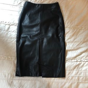 Zara Basic Leather Midi Skirt